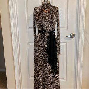 Vintage Long Sleeve Mock Neck Long Dress F3
